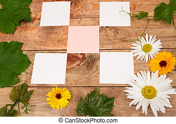Stickers on the table with grape vine and flowers