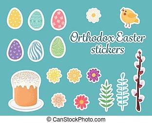 stickers., páscoa, ortodoxo