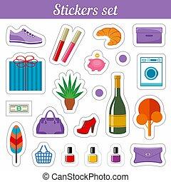 Stickers set. Cartoon patch badges.