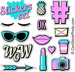 Stickers set. Cartoon patch badges