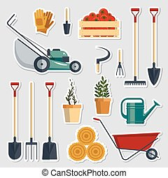 Stickers set farm tools flat-vector illustration. Garden instruments icon collection, farming equipment, sticky label