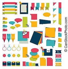 stickers, set, herinneringen, kaarten.