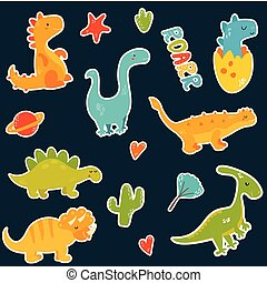 Stickers set with cartoon cute dinos. - Stickers set with...