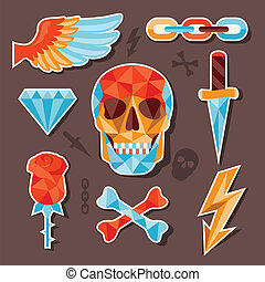 Stickers skull and elements for design.