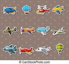 stickers, spotprent, vliegtuig