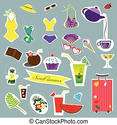 Stickers summer and travel collection on the blue background. Perfect for web, card, poster, cover, tag, invitation, sticker kit. Vector illustration.