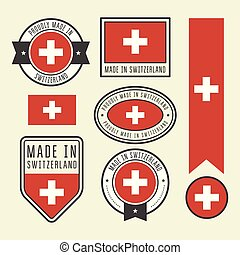 Stickers, tags and labels with Switzerland flag - badges