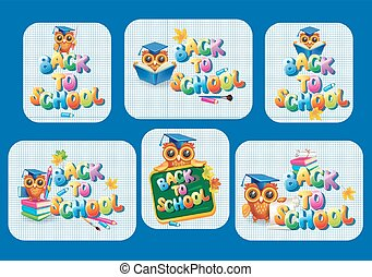 Stickers template for Back to school