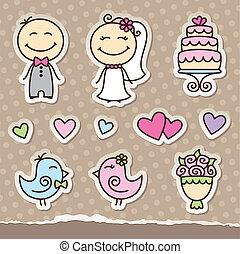stickers, trouwfeest