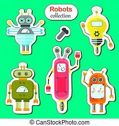 stickers., vecteur, ensemble, robots