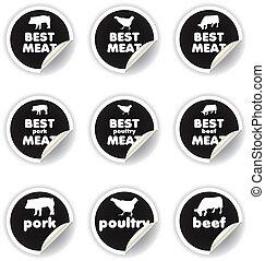 stickers, vlees