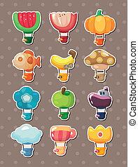 stickers, warme, balloon, spotprent, lucht