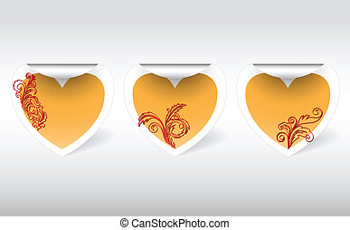 Stickers with a golden heart