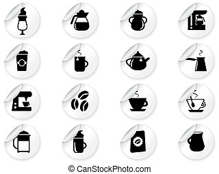 Stickers with coffee icons