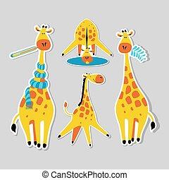 Stickers with cute cartoon giraffes