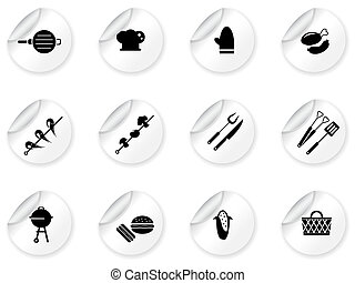 Stickers with grilling icons