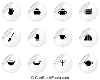 Stickers with kitchen symbols
