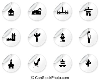 Stickers with landmarks and cultures icons