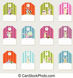 Stickers with rabbits easter eggs set retro flat concept design vector illustration