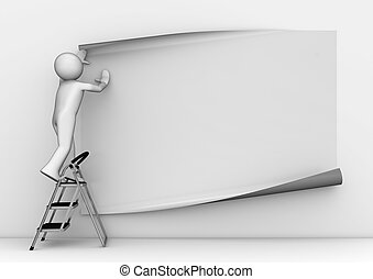 Sticking blank grey poster - 3d characters isolated on white...
