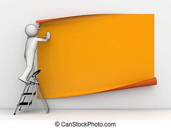 Sticking blank orange poster - 3d characters isolated on...