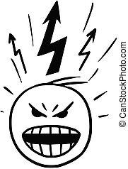 stickman, éclater, vecteur, colère, dessin animé, homme