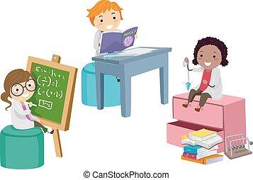 stickman, étude, gosses, physique, illustration