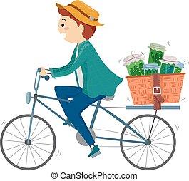 stickman, доставить, иллюстрация, травяной, велосипед, лекарственное средство, человек