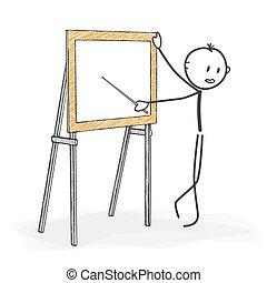 stickman, ללמד, הבן, -, הדבק, בזמן, ציור היתולי, seminar.