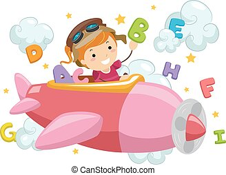 stickman, アルファベット, 雲, 女の子, 飛行機, 子供