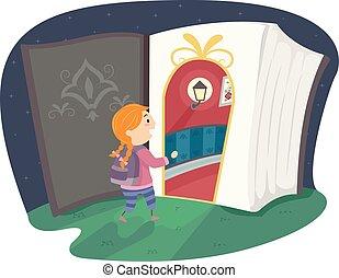 stickman, ファンタジー, 本, 入りなさい, ドア, 女の子, 子供