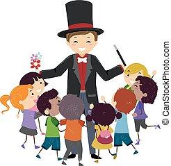 stickman, 子供, 囲みなさい, 手品師, イラスト
