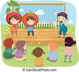 stickman, 子供, 園芸, イラスト, ショー