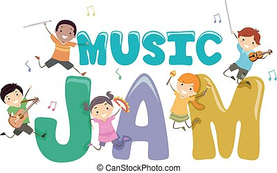stickman, 子供, 音楽, 混雑, イラスト