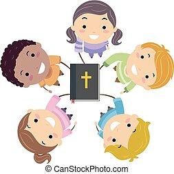 stickman, 孩子, 手, 在, 聖經, 插圖