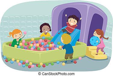 stickman, 孩子, 玩, 在中, 一, 可膨胀的球, 坑