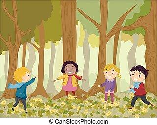 stickman, 孩子, 玩, 在中, 树林, 描述