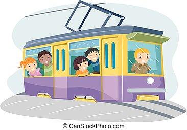 stickman, 孩子, 电车, 骑