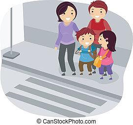stickman, 家族, 交差, a, 通り