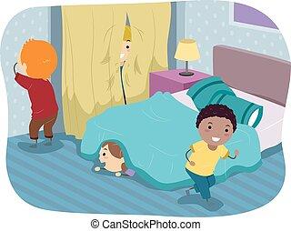 stickman, 探しなさい, 子供, hide, 寝室