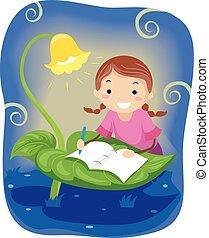 stickman, 書きなさい, ファンタジー, 本, 女の子, 子供