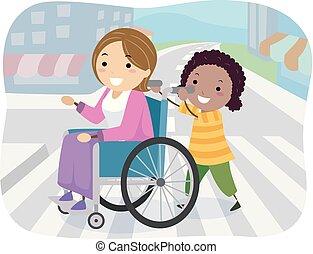 stickman, 車椅子, 交差点, 通り, 女の子, 子供