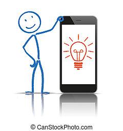 stickman, 생각, 전구, smartphone
