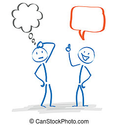 Stickman 2 Thought and Speech Bubble - 2 Stickmen with...