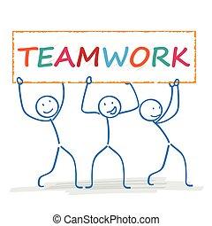 stickman, 3, bandeira, trabalho equipe
