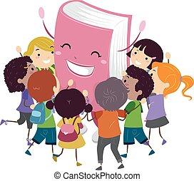 stickman, abbracciare, bambini, mascotte, libro