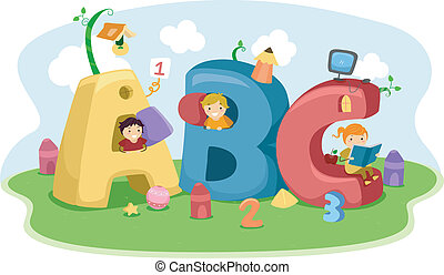 Stickman ABC - Illustration of Kids Playing with Letter-...