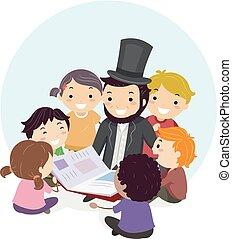 Stickman Abraham Lincoln Book Kids Illustration