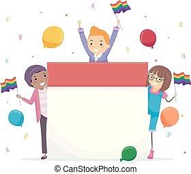 stickman, adolescentes, calendario, celebrar, ilustración