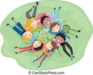 stickman, adolescentes, diverso, amigos